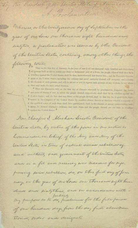 The final manuscript draft in Lincoln's handwritng.